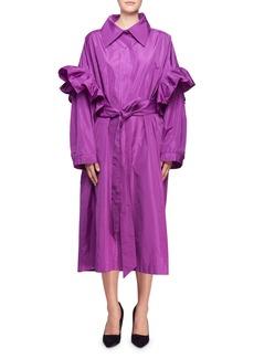 Stella McCartney Organza Ruffle-Sleeve Tie-Waist Shirtdress