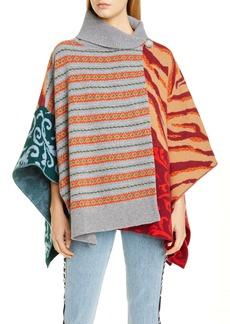 Stella McCartney Oversize Patchwork Wool Sweater Cape