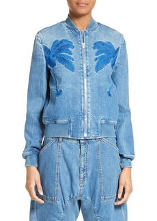 Stella McCartney Palm Tree Denim Bomber Jacket