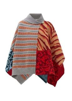 Stella McCartney Patchwork-knitted wool poncho