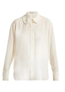 Stella McCartney Pleat collar silk crepe de Chine blouse