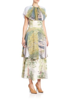 Stella McCartney Plisse-Collar Tiered Landscape Dress