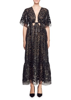 Stella McCartney Plunging Short-Sleeve Twisted-Front Faux-Leather Burnout Long Dress