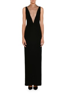 Stella McCartney Plunging Sleeveless Crepe Evening Gown w/ Rhinestone Netting