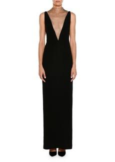 Stella McCartney Plunging Sleeveless Crepe Evening Gown w/ Rhinestone Netting
