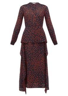 Stella McCartney Polka dot-print draped-panel silk dress