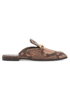 Stella McCartney Python-effect faux-leather backless loafers