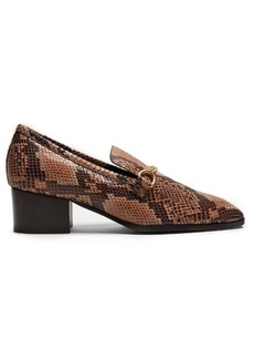 Stella McCartney Python-effect faux-leather block-heel loafers