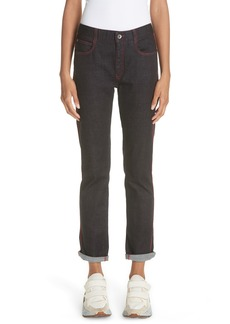 Stella McCartney Red Piping Raw Denim Skinny Boyfriend Jeans