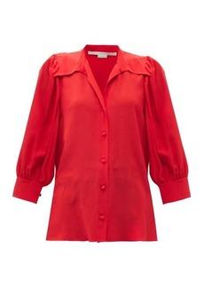 Stella McCartney Reese cropped-sleeve silk-crepe shirt