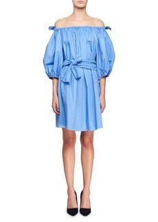 Stella McCartney Reyna Off-the-Shoulder Balloon-Sleeve Cotton Poplin Dress w/ Self Belt