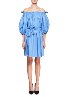 Stella McCartney Reyna Off-the-Shoulder Balloon-Sleeve Cotton Poplin Dress w/ Self Belt