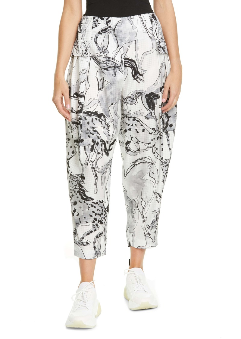 Stella McCartney Rosalinda Horse Print Pleated Silk Crop Pants