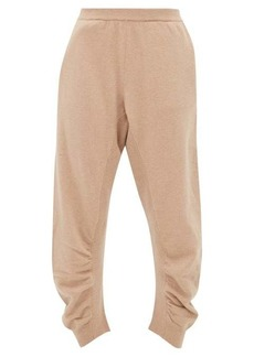 Stella McCartney Ruched-seam cropped wool track pants