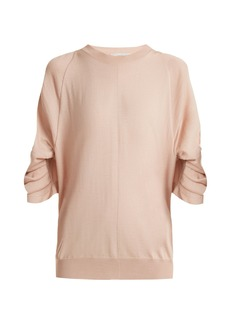 Stella McCartney Ruched-sleeve wool-blend sweater