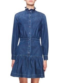 Stella McCartney Ruffle-Collar Denim Shirtdress
