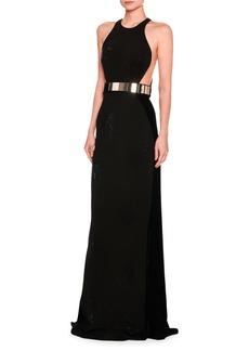 Stella McCartney Saskia Sleeveless Belted Velvet Gown