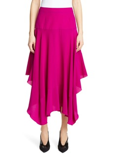Stella McCartney Silk Crêpe de Chine Asymmetrical Midi Skirt