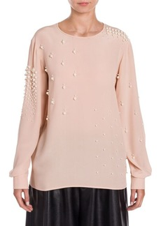 Stella McCartney Silk Pearl-Embellished Blouse
