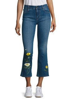 Stella McCartney Skinny Kick Flare Medium Wash Cropped Jeans