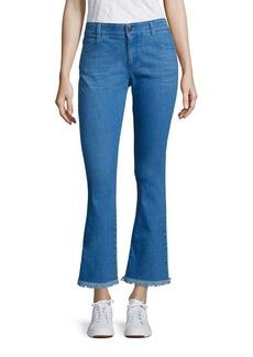 Stella McCartney Skinny Kick Flare Raw-Edge Jeans
