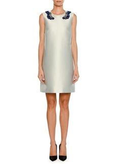 Stella McCartney Sleeveless Embellished Sateen Shift Dress