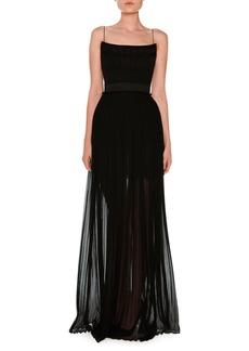 Stella McCartney Sleeveless Silk Chiffon Corset Gown