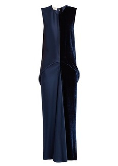 Stella McCartney Slit-backed velvet and satin dress