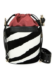 Stella McCartney Small Zebra-Print Velvet Bucket Bag