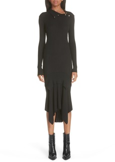 Stella McCartney Snap Neck Rib Knit Sweater Dress