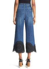 Stella McCartney Soutache Trim Crop Wide Leg Denim Pants (Dark Blue Classic)