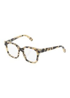 Stella McCartney Square Chain-Trim Tortoise Acetate Optical Glasses
