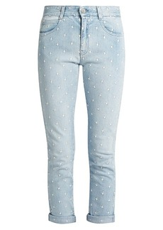 Stella McCartney Star-embroidered skinny-leg boyfriend jeans