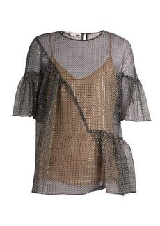 Stella McCartney Star-print silk-blend top