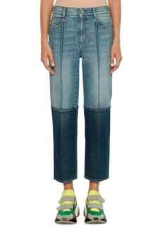 Stella McCartney Straight-Leg Cropped Two-Tone Denim Jeans