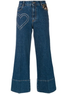 Stella McCartney stud detail cropped flare jeans - Blue