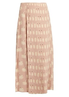 Stella McCartney Swan-print pleated silk midi skirt