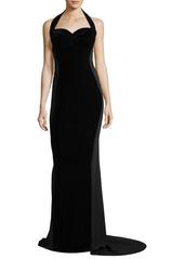 Stella McCartney Sweetheart-Neck Halter Velvet Evening Gown