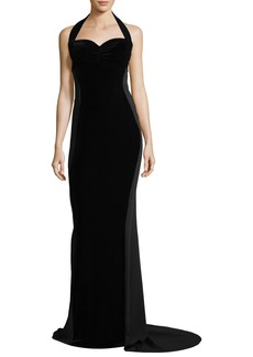 Stella McCartney Sweetheart-Neck Halter Velvet Evening Gown