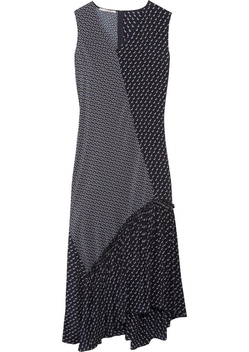 458392282 Stella McCartney Teresa asymmetric ruffled printed silk crepe de chine midi  dress