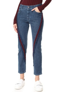 Stella McCartney The Boyfriend Velvet Ribbon Detail Jeans