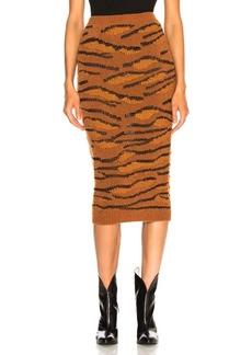 Stella McCartney Tiger Print Midi Skirt