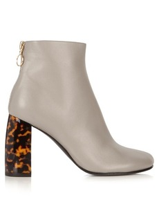 Stella McCartney Tortoiseshell block-heel faux-leather ankle boots