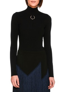 Stella McCartney Turtleneck Sweater Top with Ring