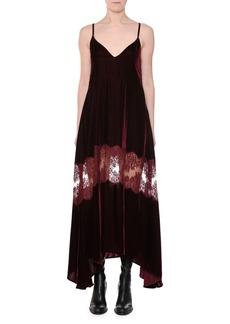 Stella McCartney V-Neck Cami-Strap Velvet Evening Dress w/ Lace Inset
