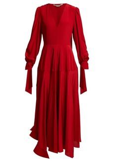 Stella McCartney V-neck silk crepe de Chine midi dress