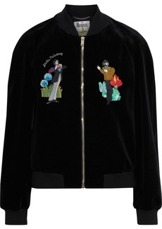 Stella Mccartney Woman + The Beatles Embroidered Cotton-velvet Bomber Jacket Black