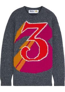 Stella Mccartney Woman + The Beatles Intarsia Alpaca-blend Sweater Dark Gray
