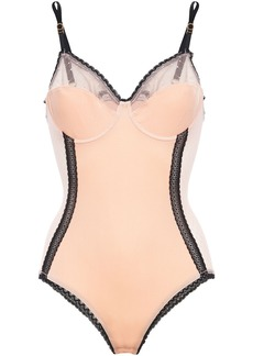 Stella Mccartney Woman Ally Indulging Lace-trimmed Point D'esprit And Stretch-velvet Bodysuit Peach