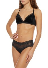 Stella Mccartney Woman Ally Indulging Lace-trimmed Velvet Soft-cup Triangle Bra Black